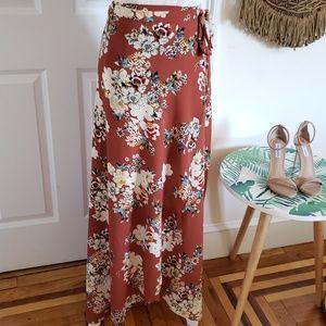 Zara long floral wrap skirt
